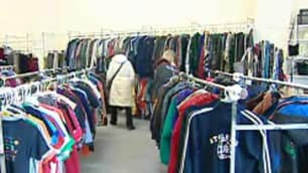 Salvation Army clothing racks. This is a well organized thrift store