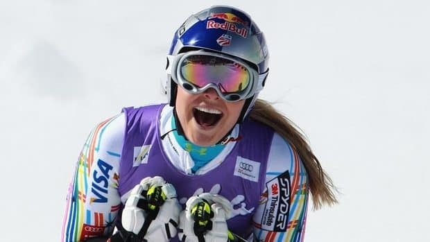 USA Lindsey Vonn is being lifted by a helicopter during the women's Super-G event of the 2013 Ski World Championships in Schladming, Austria on February 5, 2013.