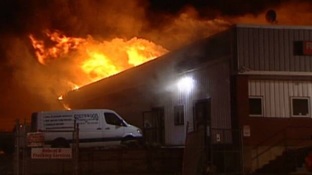 Firefighters responded to the industrial fire around 5:00 A.M. Saturday.