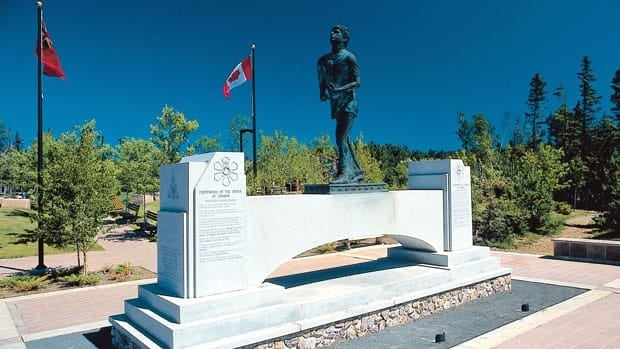 The Terry Fox monument marks the place where Fox's Marathon of Hope ended, just outside Thunder Bay, in September 1980.