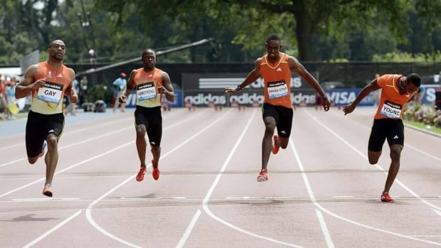 American Tyson Gay wins the 100-metre final with Nickel Ashmeade of Jamaica, left, and Ryan Bailey of the U.S. finishing seventh and second during the Adidas Grand Prix at Icahn Stadium on Randall's Island Saturday in New York City.