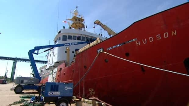 The CCGS Hudson, pictured in this file photo, assisted in the rescue of 9 people from a burning boat near St. Pierre and Miquelon on Saturday.