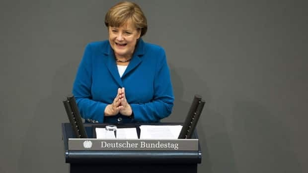 Chancellor Angela Merkel Wednesday addressed German lawmakers ahead of the EU summit Thursday.