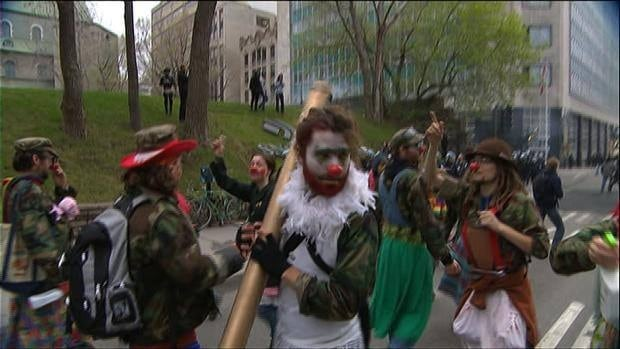 Anti-capitalist protesters march in downtown Montreal on May Day.