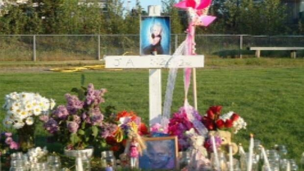 A memorial has been set up near the site in Watson Lake, Yukon, where Jaedynn Hicks was hit by the soccer net.