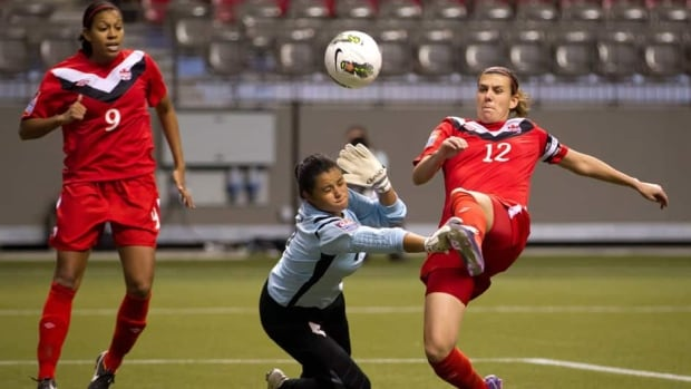 Canada's Christine Sinclair battles for the ball with team mate Carm Moscato, left, against Carli Lloyd of the U.S. during the first half of their friendly women's soccer match in Toronto on Sunday.