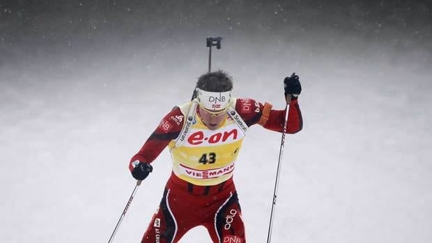 Emil Hegle Svendsen from Norway competes in the 12.5 km men's pursuit at the Biathlon World Championship in Nove Mesto na Morave, Czech Republic on Sunday.