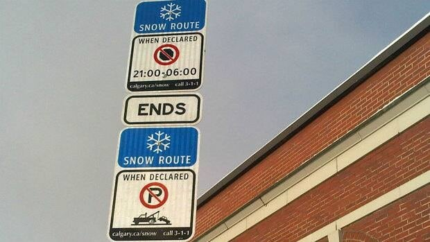 Snow routes include major roadways, collector roads and most bus routes and are marked by blue signs with a white snowflake icon.