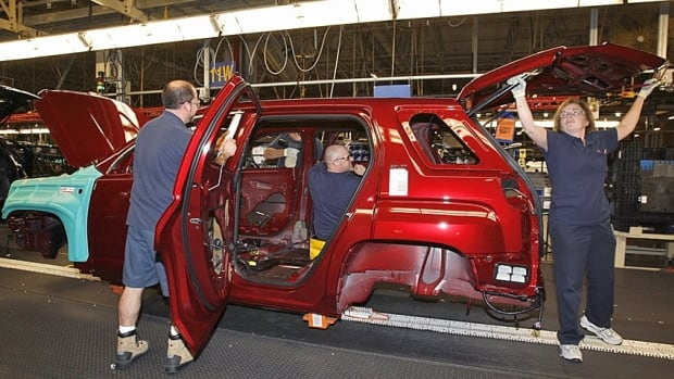 Workers at the GM Cami plant in Ingersoll, Ont. Exports of motor vehicles and parts are up 39 per cent in the past year in dollar terms, Statistics Canada said.