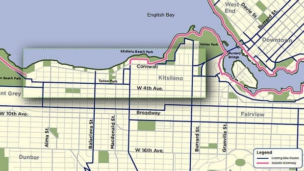 The city proposal would create a separated bike lane from the south end of the Burrard Bridge to Jericho Beach, running along Cornwall and Point Grey avenues.