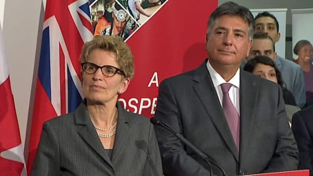 Ontario Premier Kathleen Wynne and Finance Minister Charles Sousa. Sousa said, with the most recent budget, the province is committed to helping all the people of Ontario and to eliminating the deficit by 2017-18. Critics in northern Ontario say that help doesn't appear to support northern Ontario's interests.
