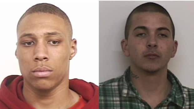 A Canada-wide arrest warrant was issued for Christian Enang Clyke (left) and Anthony Michael Leadley. Leadley was arrested Wednesday evening.