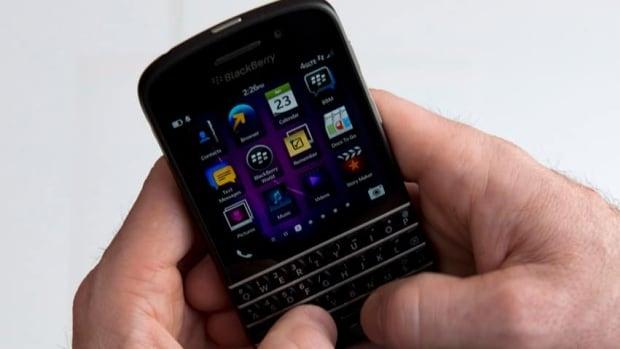 A BlackBerry Q10 pictured above. BlackBerry CEO John Chen says the company is working on new high-end smartphones that will target keyboard-lovers and would be available in about 18 months.  Graeme Roy/Canadian Press