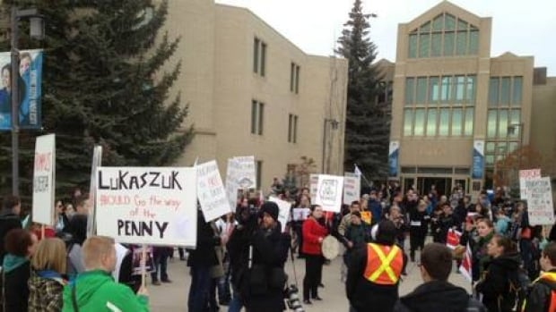 More than 300 students and faculty of Mount Royal University gathered last week to protest cuts to post-secondary education.