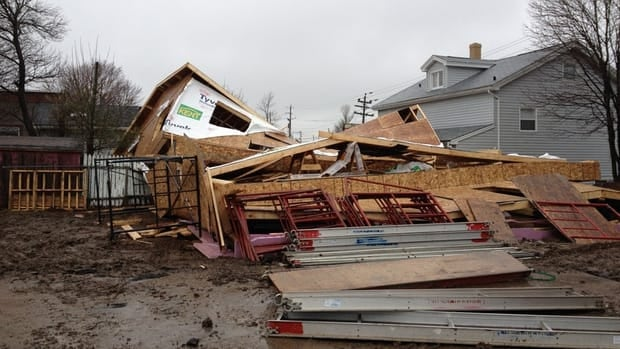 Strong winds in the Halifax area blew down a building under construction on Layton Road, off Herring Cove Road.