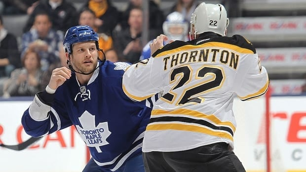 Members of the Boston Bruins and the Toronto Maple Leafs shake hands following the Bruins overtime win in Game 7.