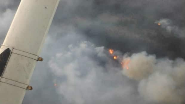 An aerial view of forest fires that have already destroyed several cabins in western Labrador.