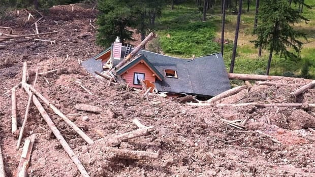 The foundation of the home destroyed in the Johnsons Landing landslide in southeastern B.C.