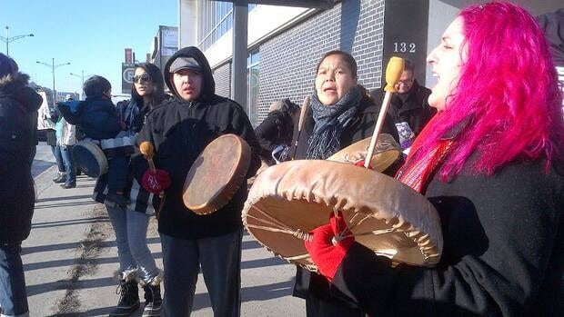 Members of the Treaty 7 First Nations stage an Idle No More protest on 16th Avenue N.W. in Calgary.