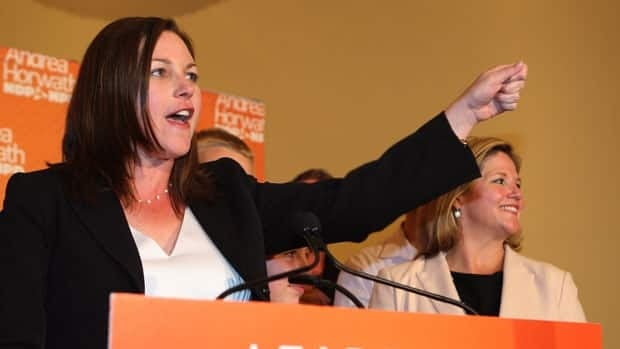 Kitchener-Waterloo MPP Catherine Fife, left and party leader Andrea Horwath. On Friday, Horwath announced that she won't support the Liberal budget, a move likely to trigger a spring election in Ontario.