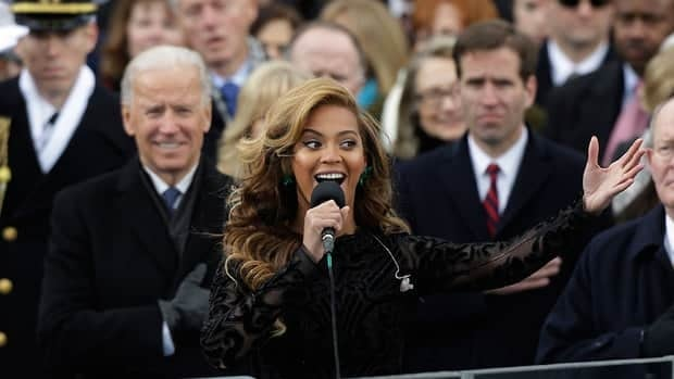 Beyoncé sings the U.S. national anthem to close the ceremonial swearing-in at the U.S. Capitol during the 57th Presidential Inauguration in Washington on Monday.