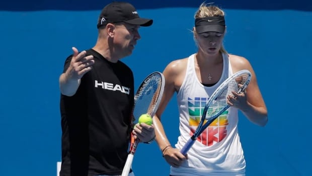 Maria Sharapova talks with her coach Thomas Hogstedt, left, ahead of this year's Australian Open.