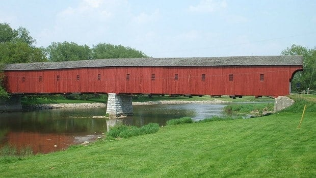 The covered bridge in West Montrose is 60 meters long and is the only remaining covered bridge in Ontario.