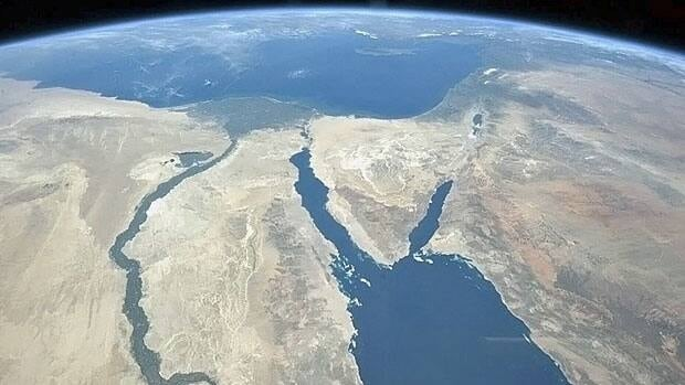 Astronaut Chris Hadfield's Nile, on the left, snaking through the Sahara Desert north through Egypt. Taken from the International Space Station in March 2013.
