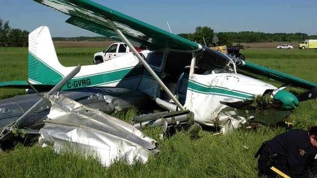 RCMP are on the scene of a plane crash near Lac du Bonnet Tuesday, where two were injured. (RCMP)
