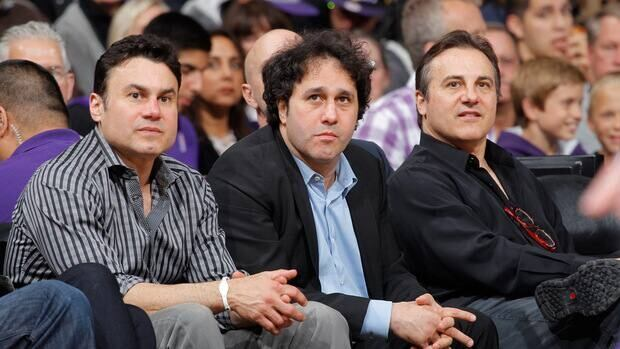 (Left to right) Phil, George and Gavin Maloof during a Sacramento Kings game against the Los Angeles Lakers on April 26, 2012.