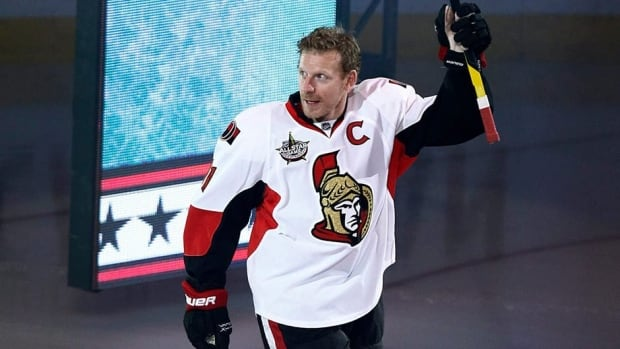 Ottawa Senators Daniel Alfredsson is seen here waving to fans before the NHL All-Star hockey skills competition in Ottawa on January 28, 2012. The Senators' long-time captain has opted to leave the only NHL team he's ever played for.