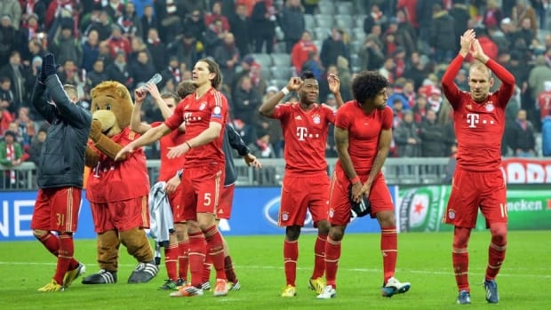 Bayern players celebrates their 2-0 win at the end of the Champions League quarter-final first leg soccer match between Bayern Munich and Juventus Turin in Munich, Germany on Tuesday.