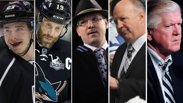 From left to right, the Kings' Dustin Brown and the Sharks' Joe Thornton captain their teams into a Game 7 clash on Tuesday, while Pens coach Dan Bylsma and Bruins coach Claude Julien are engaged in a war of compliments, and Brian Burke presses on with his lawsuit.