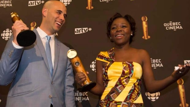 War Witch director Kim Nguyen, and actress Rachel Mwanza hold their trophies at the 15th annual Jutra award ceremony in Montreal on Sunday.