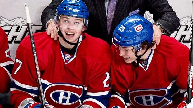 Alex Galchenyuk, left, and Brandon Gallagher have each notched their first NHL goals in the early going for Montreal.