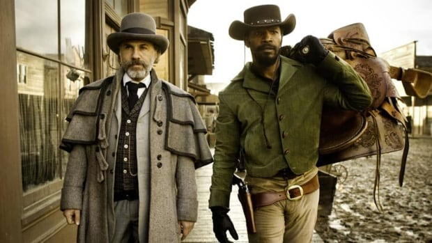 Christoph Waltz as Schultz and Jamie Foxx in Django Unchained, for which Foxx is in the running as Best Male Performer.