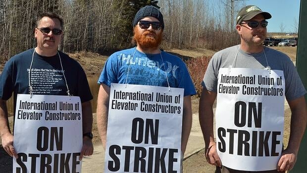 Striking elevator workers in Thunder Bay say it's best people start taking the stairs, as monthly maintenance on elevators isn't being done. The workers' deal with the National Elevator and Escalator Association expired May 1.