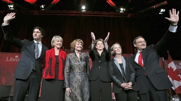 From left, federal Liberal Party leadership candidates Justin Trudeau, Joyce Murray, Karen McCrimmon, Martha Hall Findlay, Deborah Coyne, and Martin Cauchon.