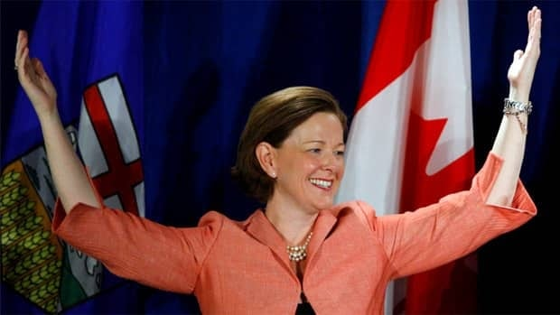 Alison Redford celebrates after Albertans elected another majority Progressive Conservative government on April 23, 2012.