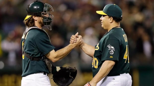Oakland Athletics starting pitcher Bartolo Colon, left, is off to a superb start this season to the tune of a 7-2 record with a 3.14 earned-run average.