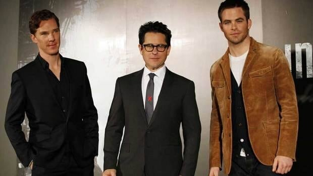 Director J.J Abrams, centre, poses with actors Benedict Cumberbatch, left, and Chris Pine during a promotional tour in Japan for Star Trek: Into Darkness.