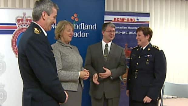 RNC chief Robert Johnston, Premier Kathy Dunderdale, Justice Minister Darin King, and RCMP Assistant Commissioner and Commanding Officer Tracy Hardy at a news conference in St. John's on Friday.