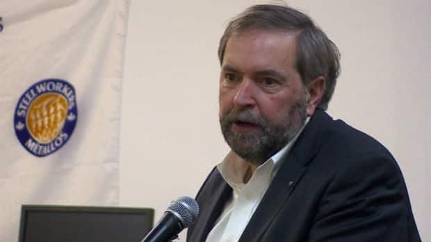 NDP Leader Tom Mulcair campaigned in western Labrador on Tuesday night.