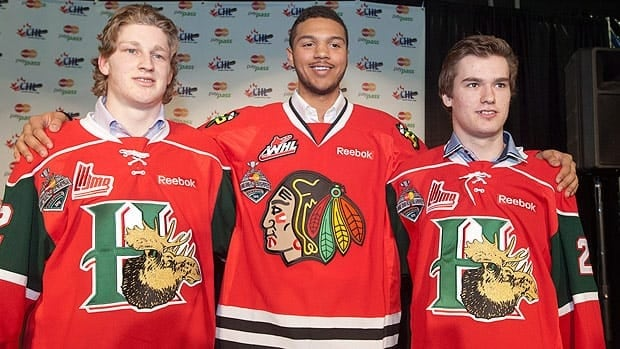 Halifax Mooseheads centre Nathan MacKinnon, left, Portland Winterhawks defenceman Seth Jones, centre, and Halifax Mooseheads left winger Jonathan Drouin are considered by NHL Central Scouting to be the top three players in this June's draft.