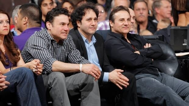 Sacramento Kings owners, the Maloof Brothers, watch as their team take on the Los Angeles Lakers on April 26, 2012 in Sacramento, Calif.