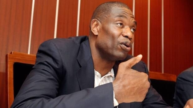 Former NBA star Dikembe Mutombo, seen here speaking to journalists in Tokyo in June, 2012, believes he is worthy of induction to the Basketball Hall of Fame.