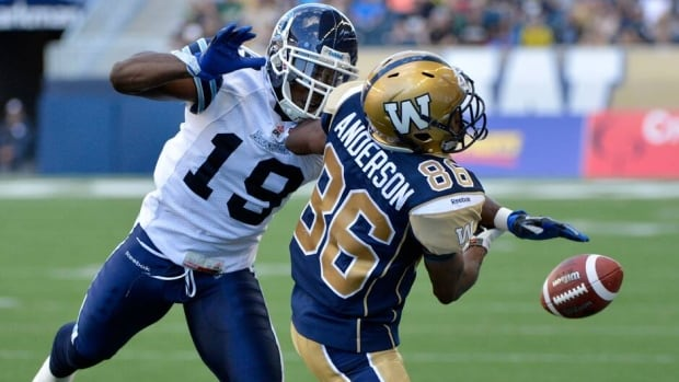 Toronto Argonauts Jalil Carter, left, breaks up a pass intended for Winnipeg Blue Bombers Isaac Anderson during the first half of their pre-season game Wednesday in Winnipeg.
