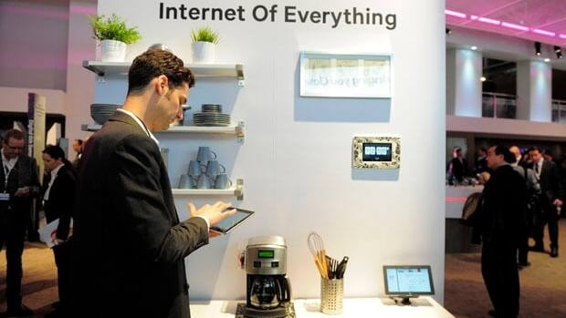 At U.S. chipmaker Qualcomm Inc.'s booth at the Mobile World Congress, there's a coffeepot that can be ordered to start brewing from a tablet computer and an internet-connected alarm clock.