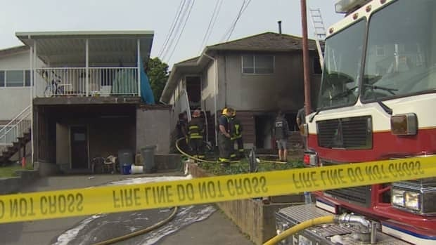 A fire broke out in the victim's home in the 900 block of East 63rd Avenue just before 5 p.m. PT on Saturday, as the family gathered to mourn her death.
