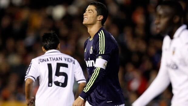 Real Madrid's Cristiano Ronaldo, centre, reacts after failing to score against Valencia during their Copa del Rey match in Valencia, Spain, on Wednesday.